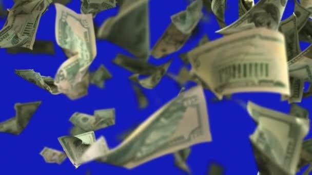 Padající dolar peníze v pomalém pohybu 4k Loopable
