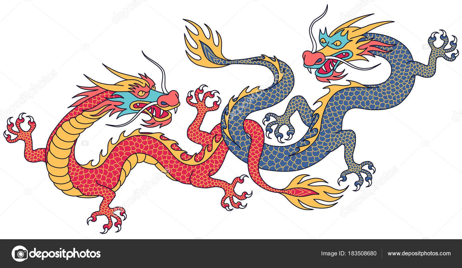 Dragones Chinos Dos Combates Personajes Dibujos Animados Aislados
