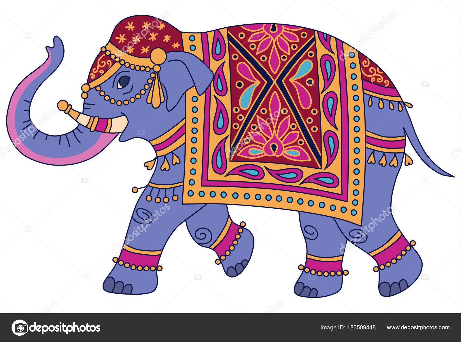 Blue Indian Elephant Decorated Traditional Style Vector ...