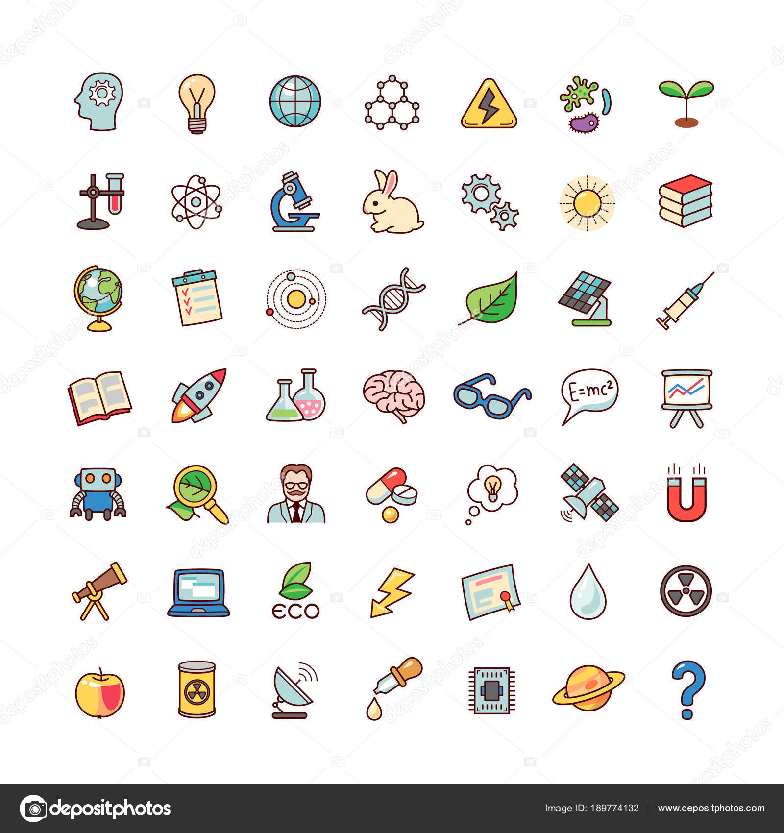 Collection Objects Symbols Science Set Cartoon Icons Isolated White