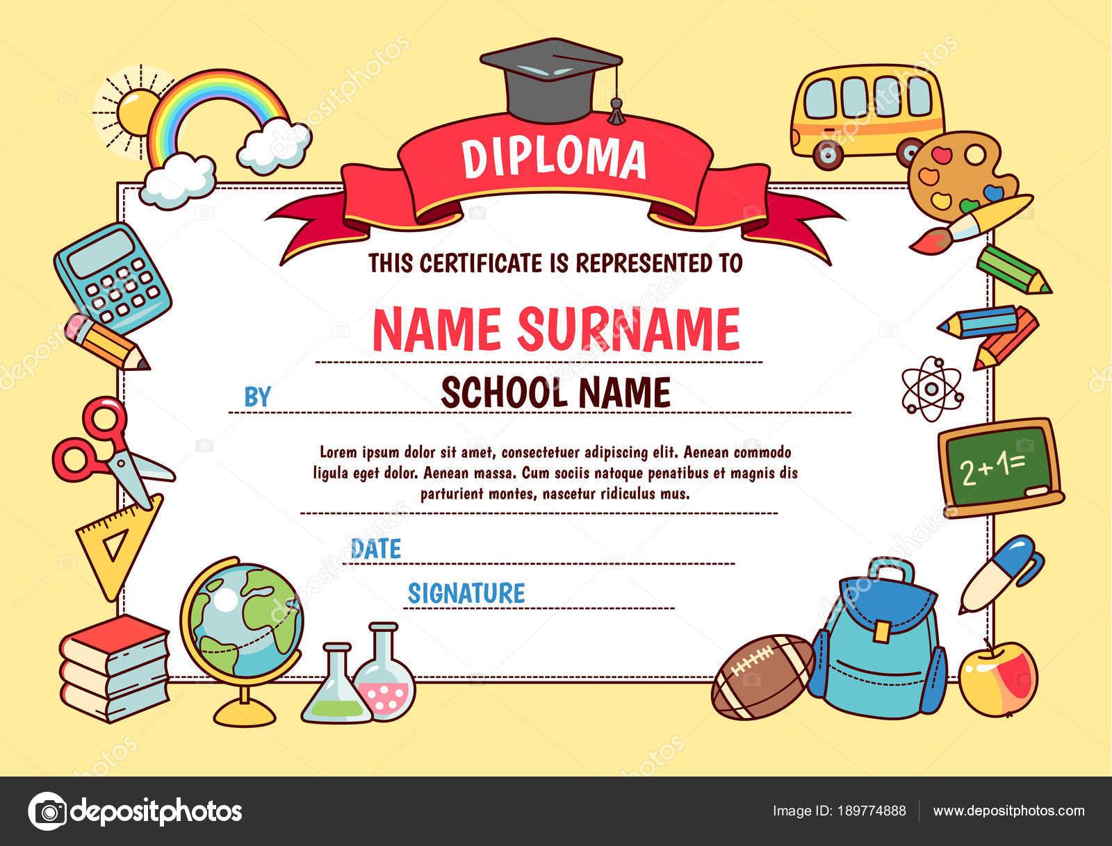 Diploma Escuela Primaria Linda Plantilla Con Marco Dibujos Animados ...