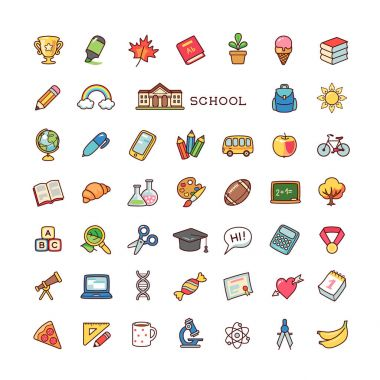 Collection of objects and symbols for school. Set of cartoon icons isolated on white background.