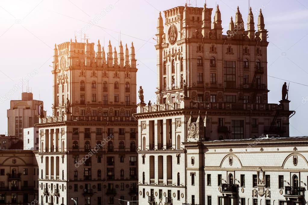 Cityscape of Minsk, Belarus. Summer season and sunset time. View of central Avenue and Central station. Twin Towers
