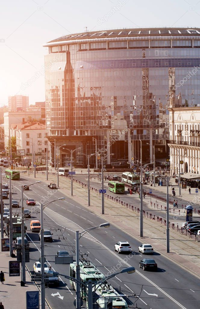 Cityscape of Minsk, Belarus. Summer season and sunset time. View of central Avenue and Central station