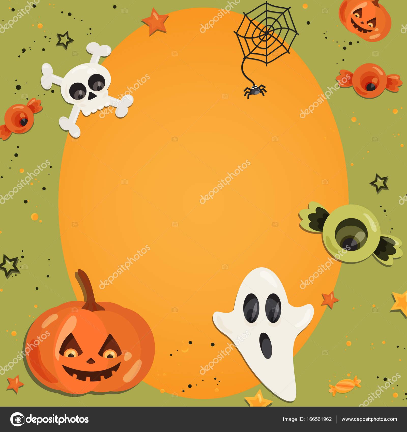 Halloween Cartoon Kunst im flachen Stil. Grünen Sie Hintergrund ...