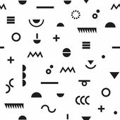 Fényképek Absztrakt fekete geometriai modern szimbólumok és Memphis stílus varrat nélküli mintát fehér háttér
