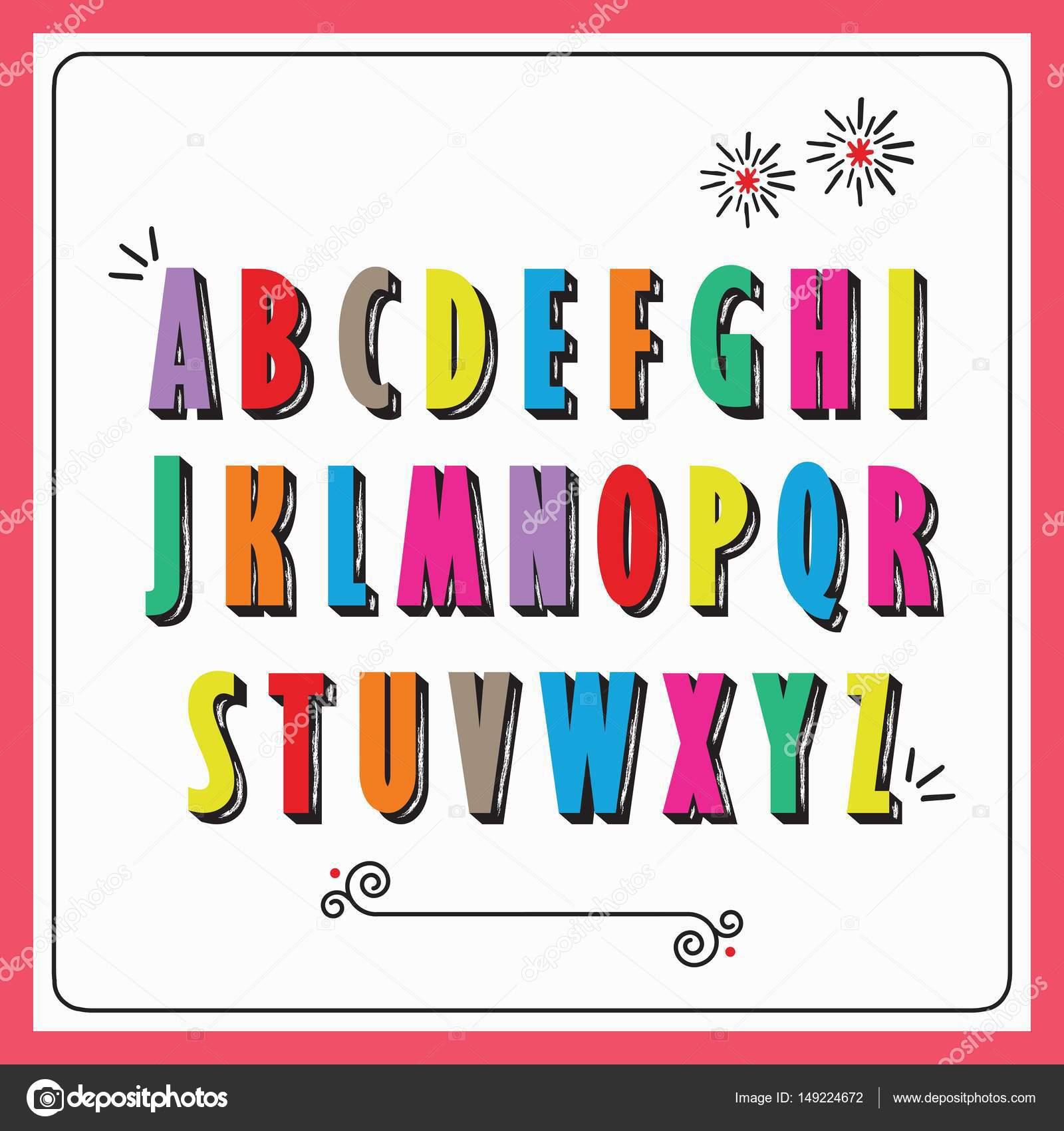 Letras del alfabeto capital funky colores en fondo blanco — Vector ...