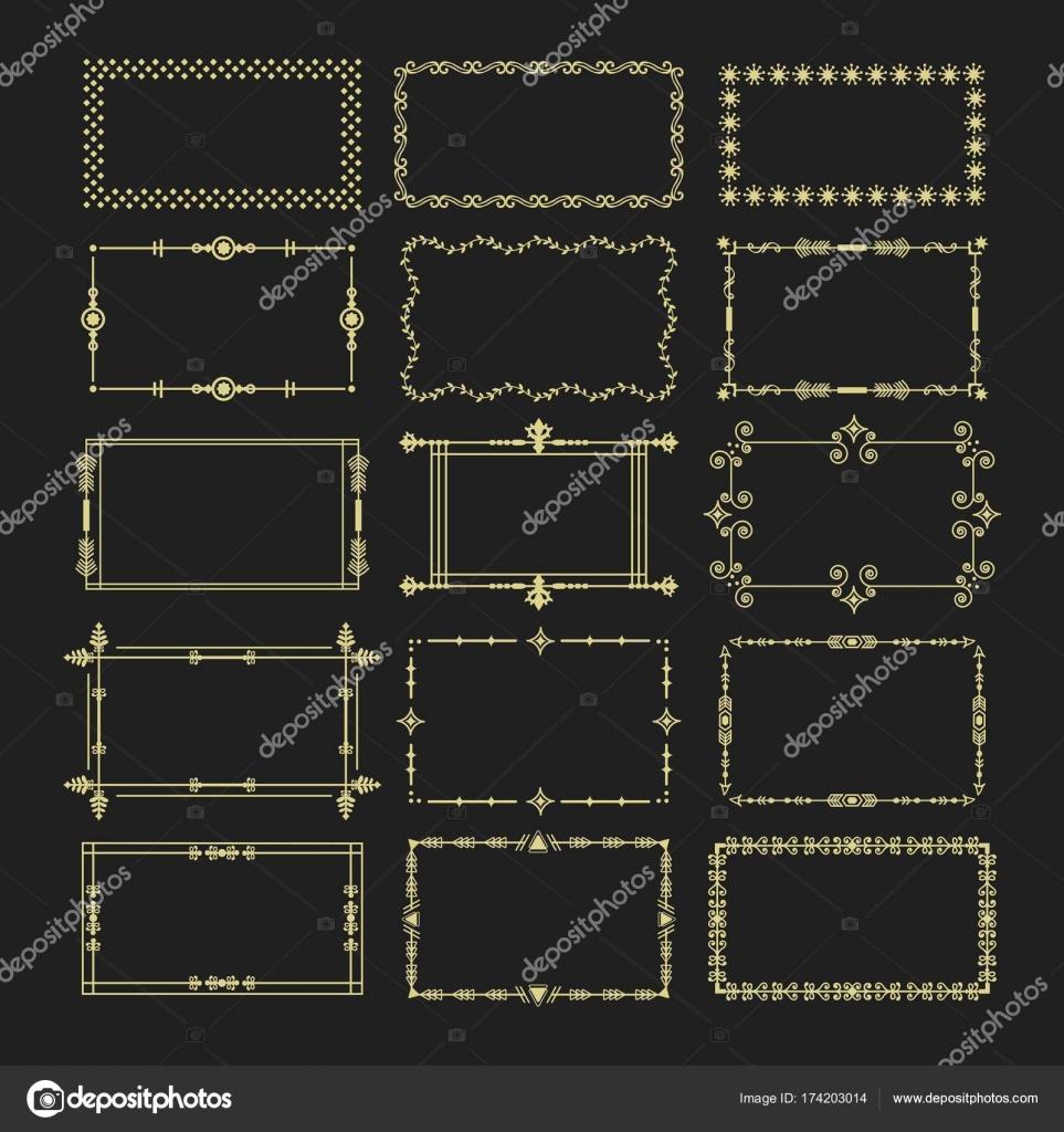 Goldene Rechteck umrahmt und grenzt Emblem Symbole auf schwarzem ...