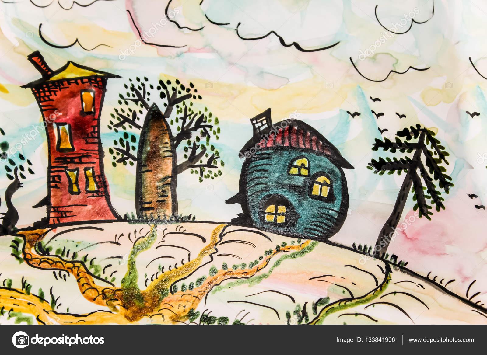 Disegno Di Un Bambino : Disegno di un bambino con case astrazione creativity.6 u2014 foto