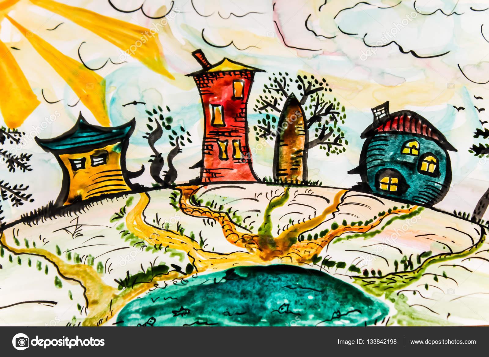 Disegno Di Un Bambino : Disegno di un bambino con case astrazione creativity.3 u2014 foto