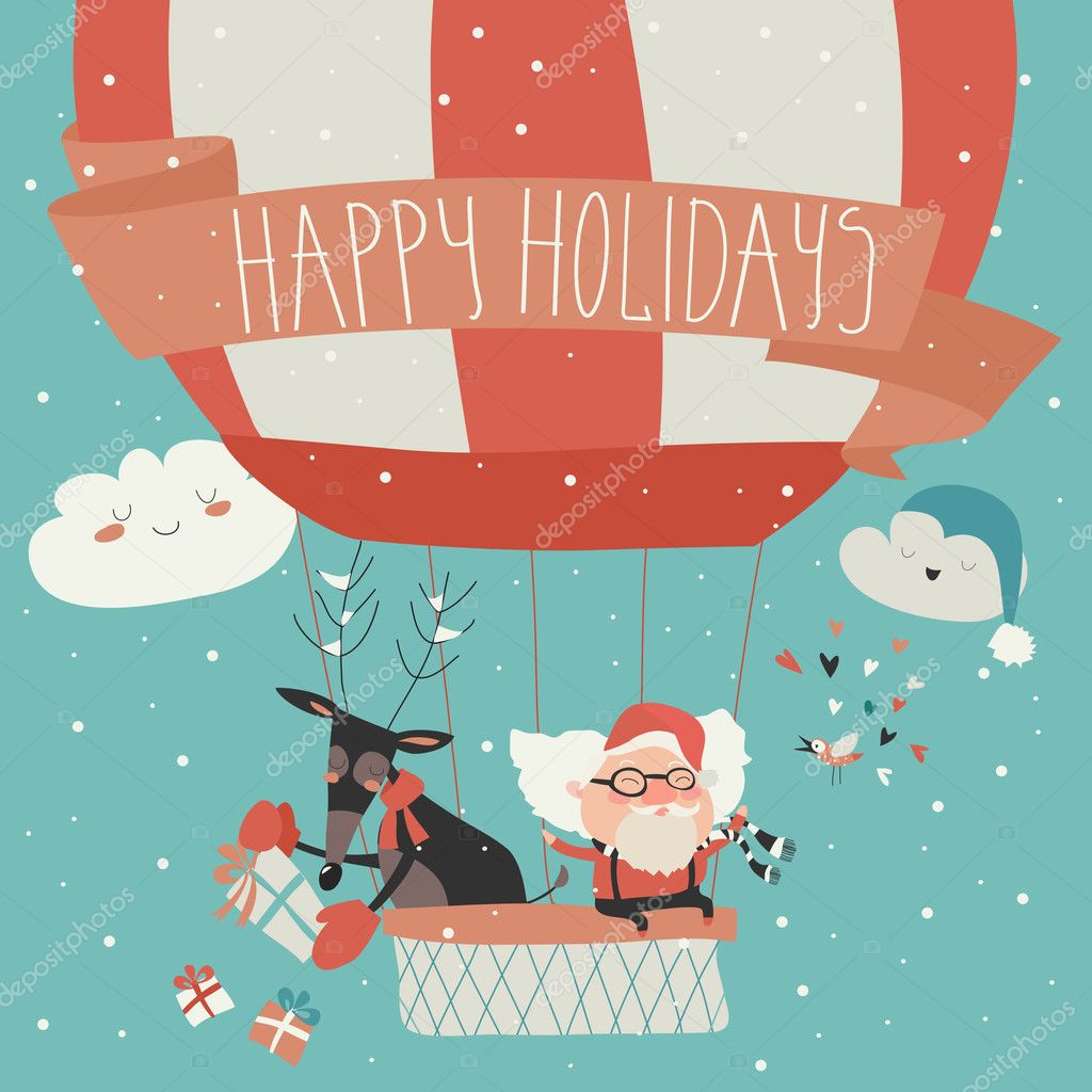 Santa Claus flying in a hot air balloon with reindeer