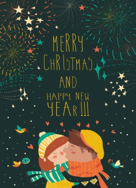 Card for lovely christmas with kissing couple and firework
