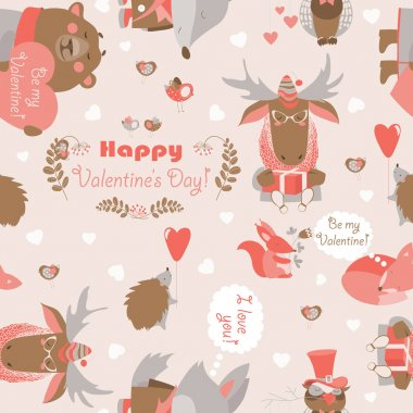 Seamless vector pattern with fun animals, hearts and flowers clip art vector