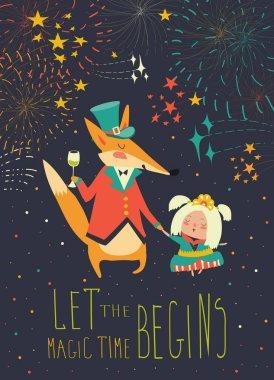 Gentleman fox with little princess