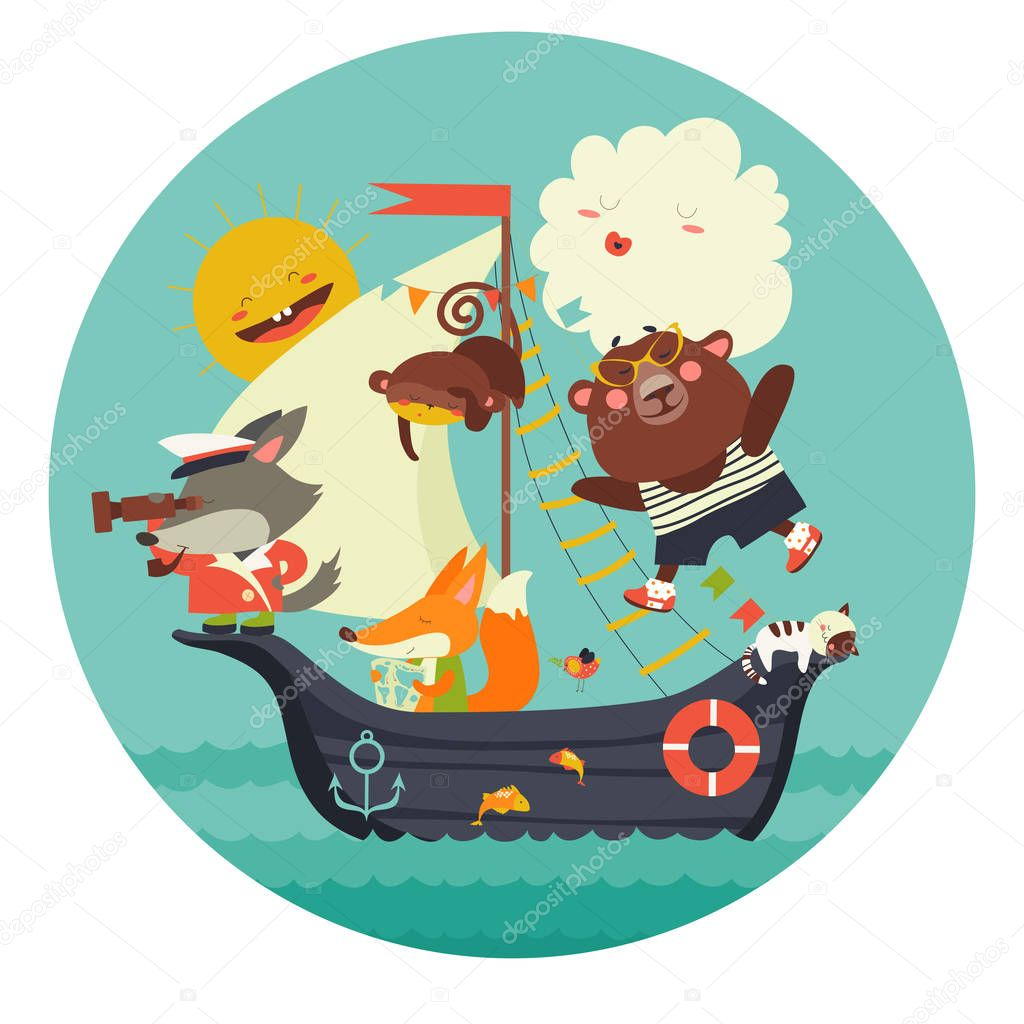 Cute animals travelling by ship on sea