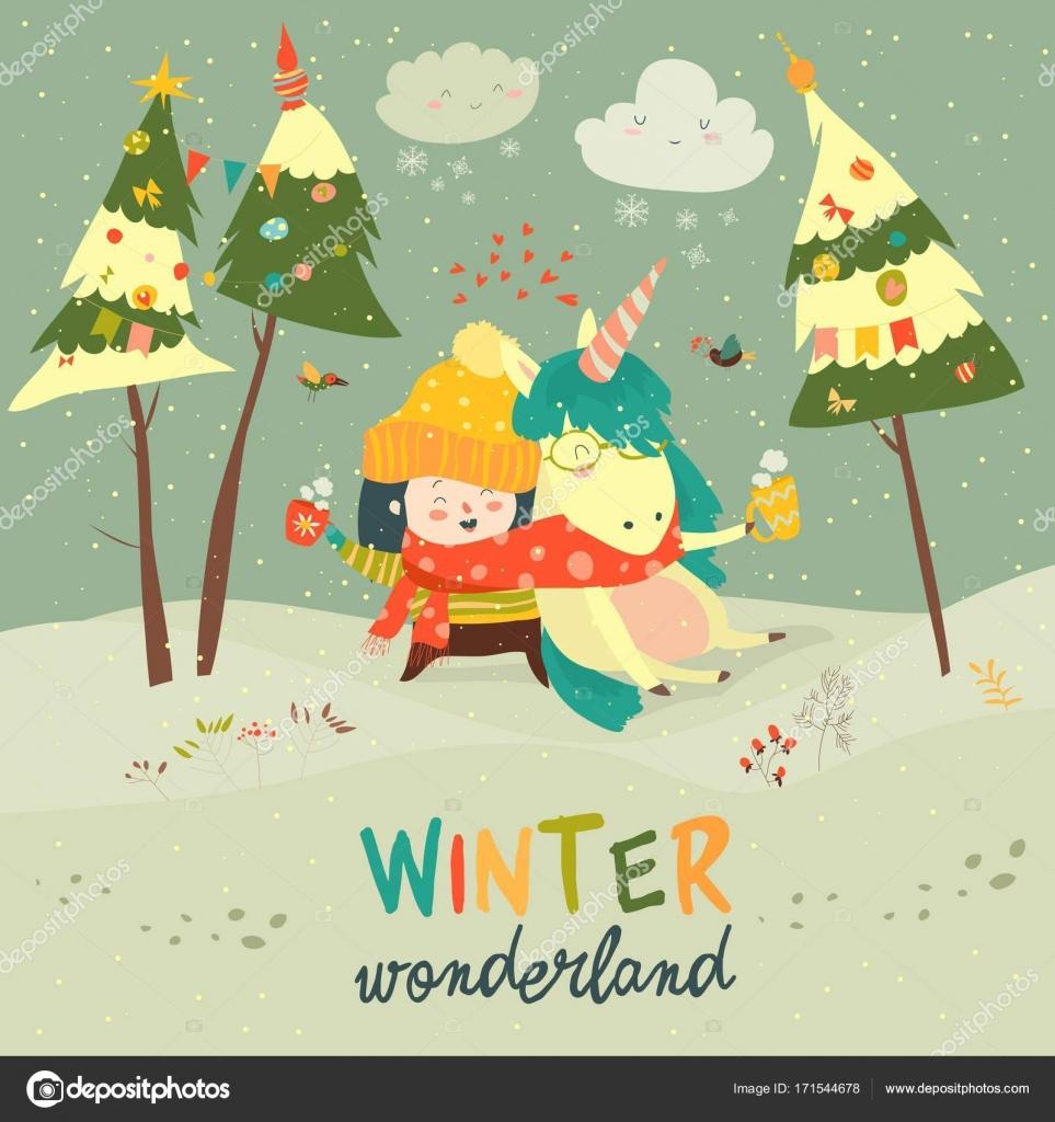 depositphotos 171544678 stock illustration cute girl hugging unicorn winter