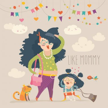 Stylish mother with her daughter. Vector cartoon illystration clip art vector
