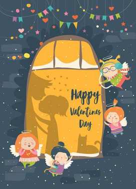 St.Valentine card with cupid and couple. Vector illustration stock vector