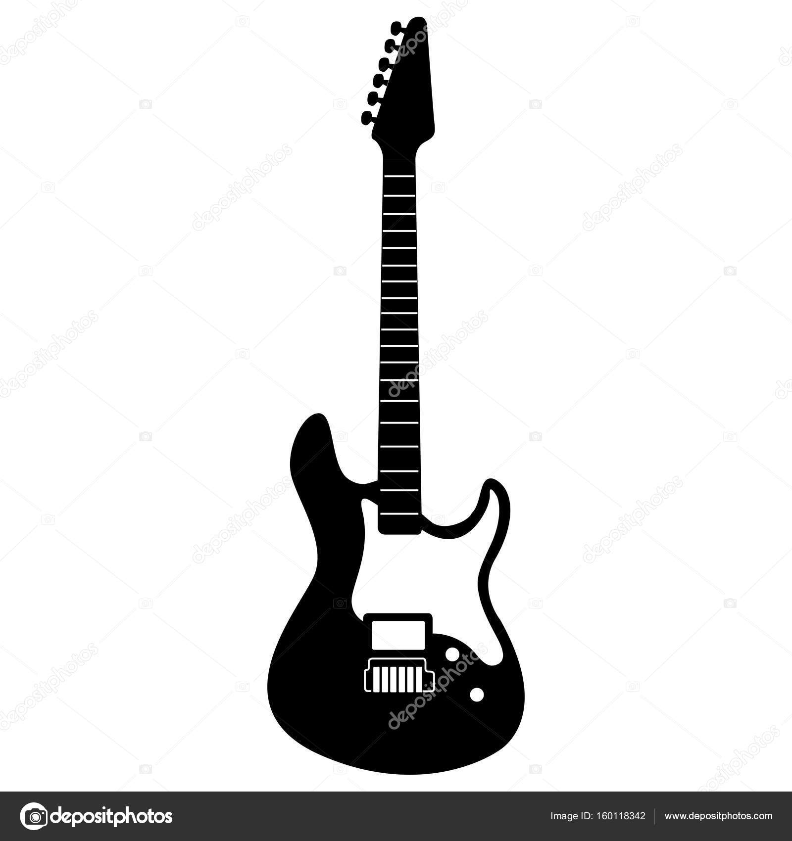 isolated electric guitar silhouette stock vector laudiseno