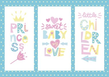Three children s layout with labels Princess, Baby, Love, Children.