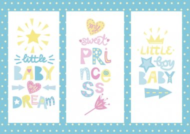 Three Baby posters with labels