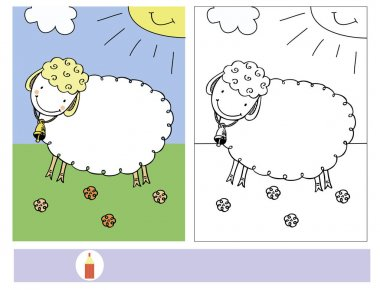 The task for the children with coloring of the sheep