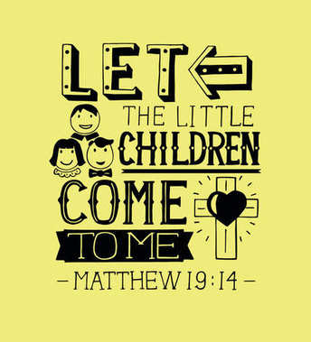 Hand lettering Let the little children come to me.