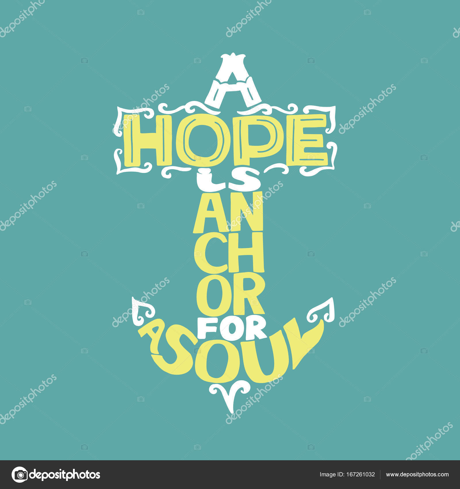 Nice Hand Lettering A Hope Is Anchor For The Soul On A Blue Background.  Christian Poster. Bible Verse. Card. Scripture U2014 Vector By SunnyKo