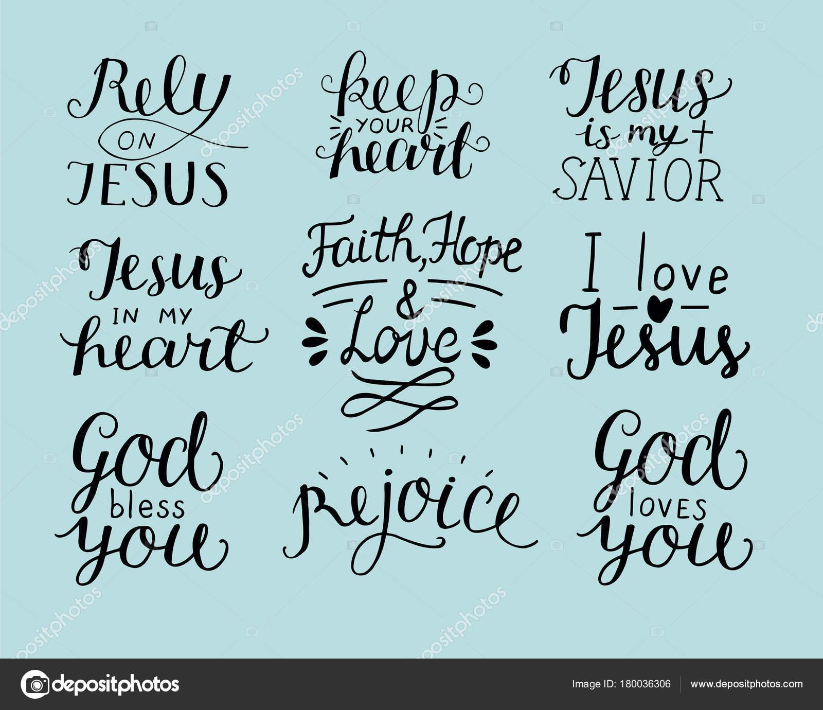 Ensemble De 9 Main Lettrage Citations Chrétiennes Que Dieu