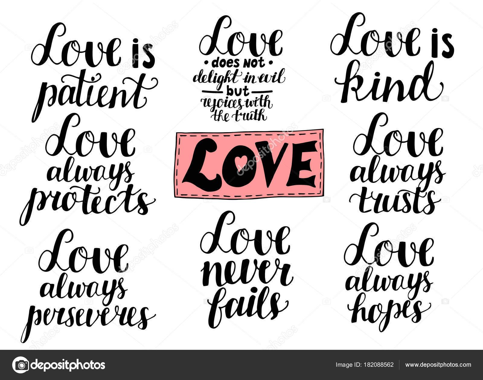 Zestaw 8 Ręka Napis Cytaty O Miłości Z Corinthians Grafika