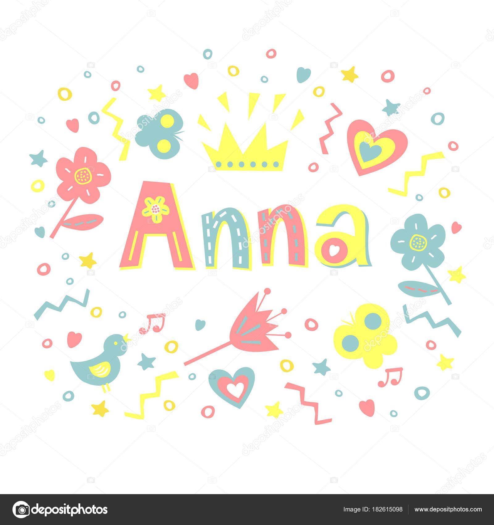 Anna, geschrieben in eine schöne Färbung Schrift, umgeben von Blumen ...
