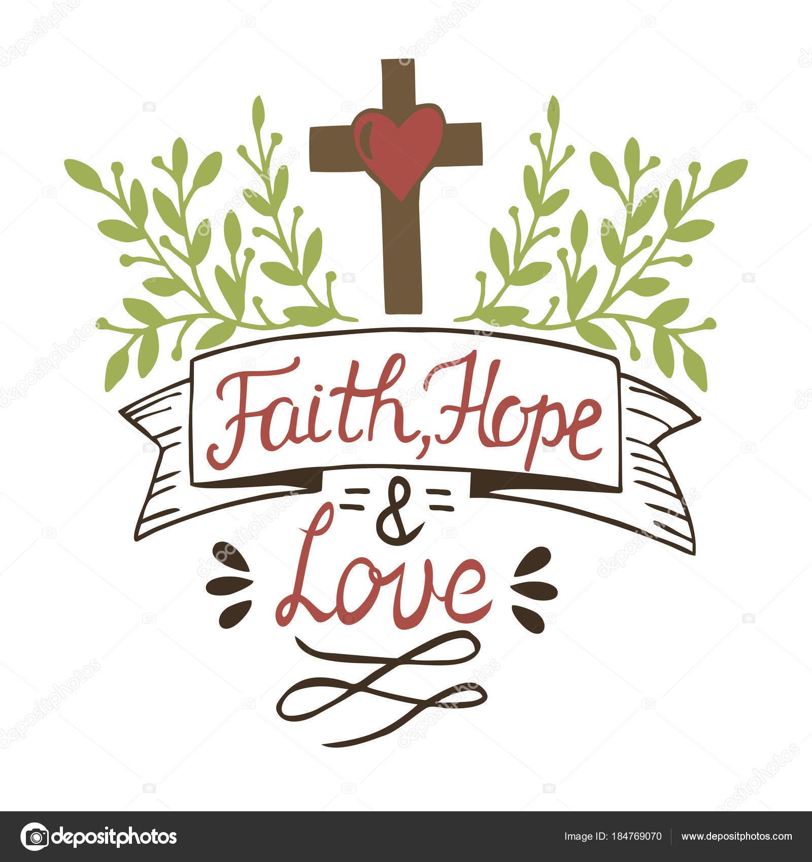 Colorear Letras fe, esperanza y amor con Cruz y deja — Archivo ...