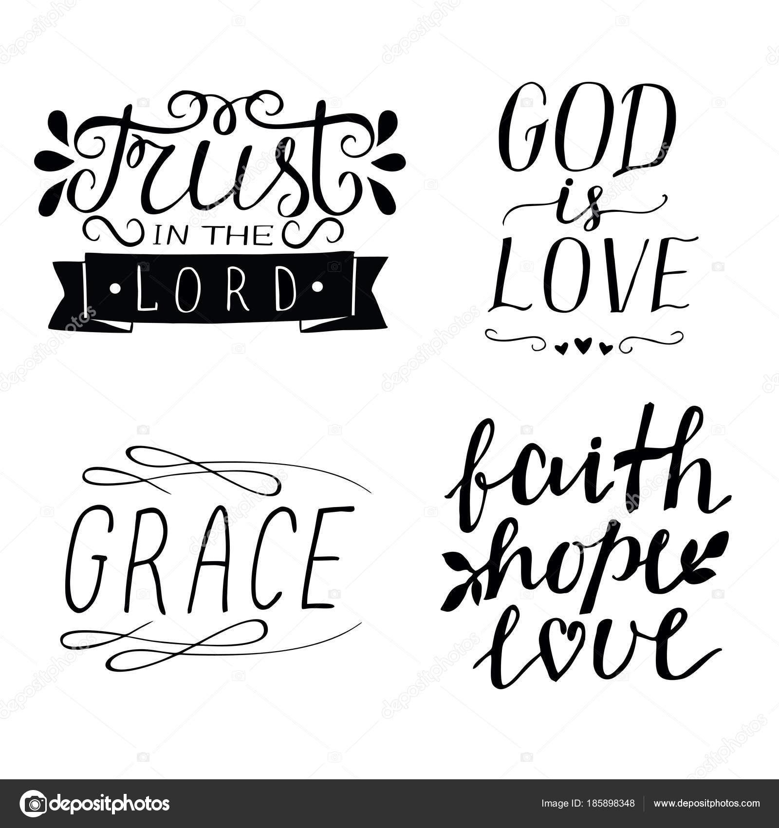 Vector Esperanza Fe Amor Juego De Mano 4 Letras Frases Cristianas