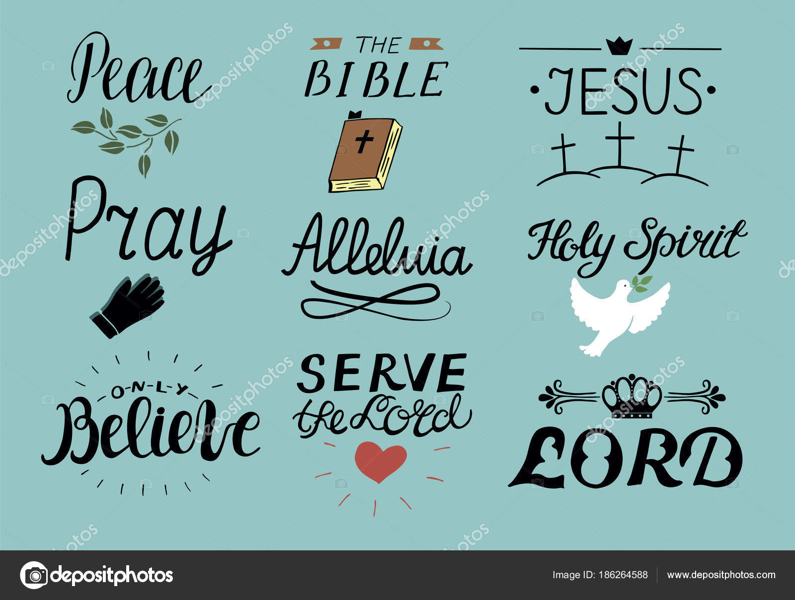 Set of 9 Hand lettering christian quotes Jesus  Holy Spirit