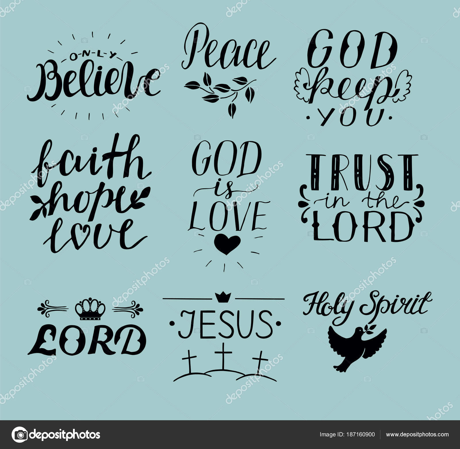 Bible Quotes In Calligraphy Set Of 9 Hand Lettering