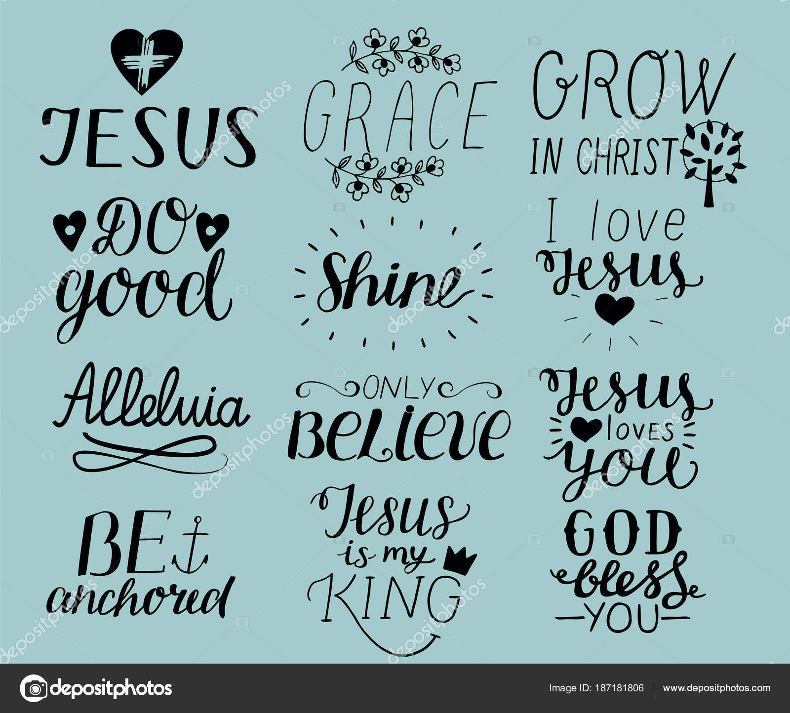 Images: i love jesus quotes and | Set of 12 Hand lettering