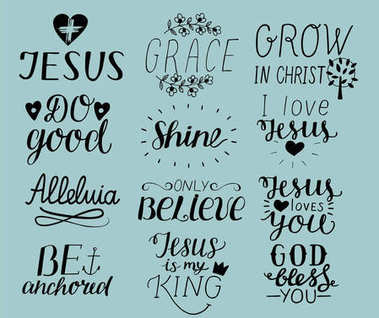 Set of 12 Hand lettering christian quotes I love Jesus. Grace. God bless you. Do good. Grow in Christ. Be anchored. Alleluia. Shine. Only believe.