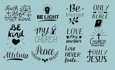 Set of 12 Hand lettering christian quotes Only Jesus. Love one another. Church ministry. Alleluia. Be light. Bible. Faith, hope. Peace. Be kind. Blessed. Never fails