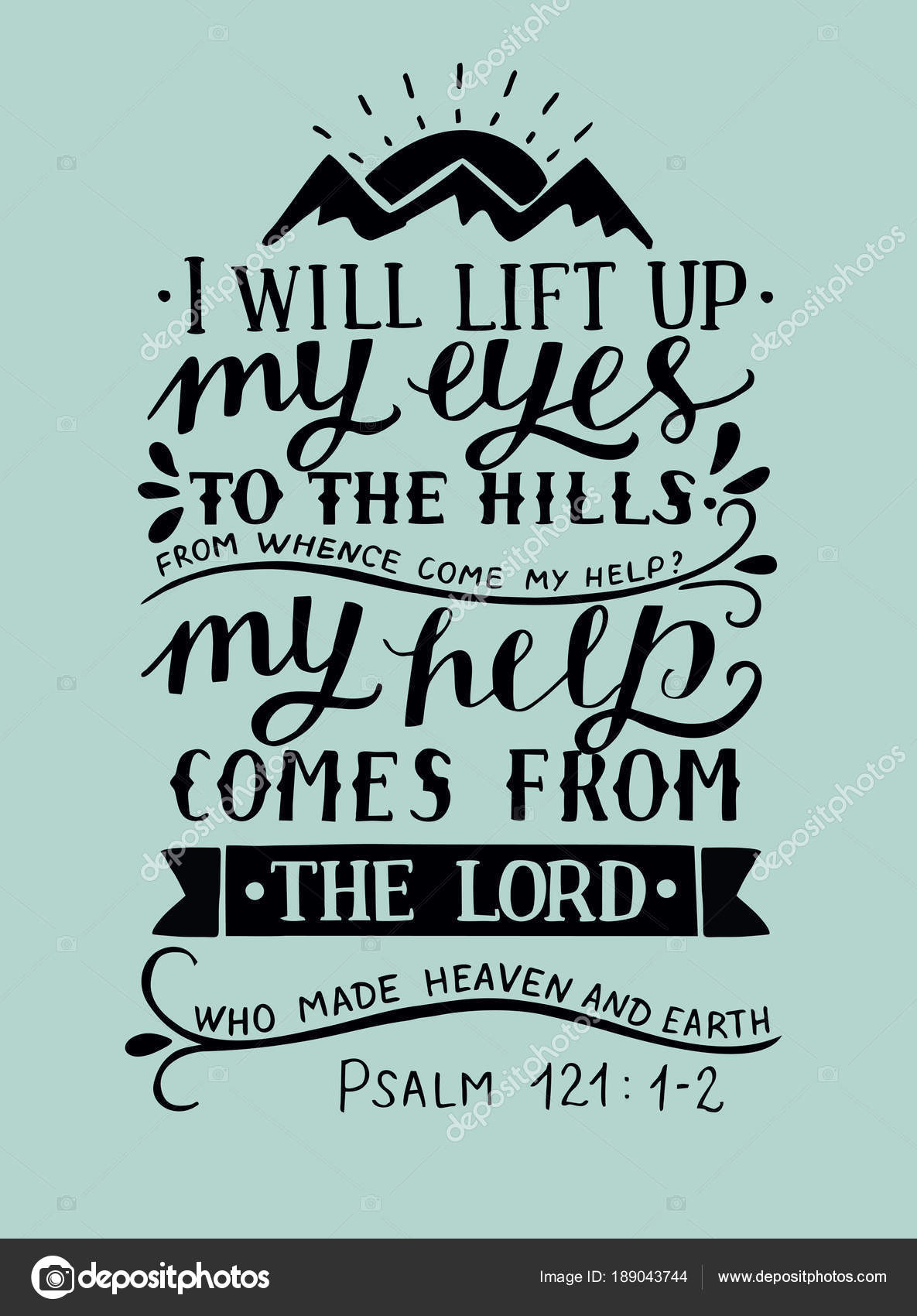 hand lettering with bible verse i will lift up my eyes to the hills