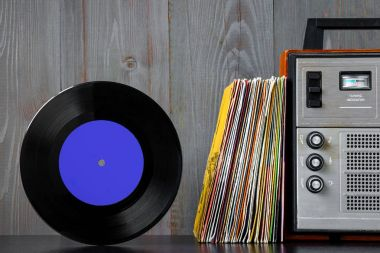 Old vinyl records and sound equipment