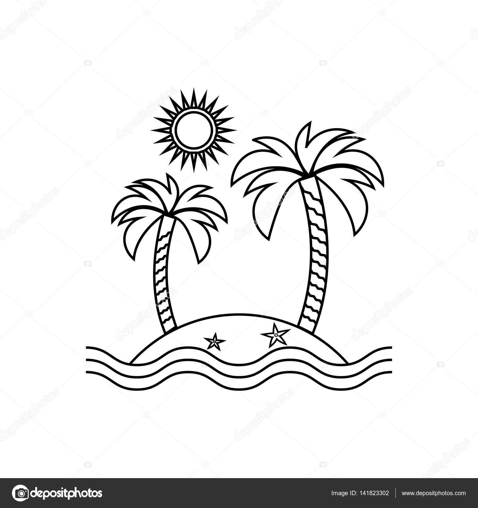 Icono lineal de la isla, viajes, turismo, sol y palmeras ...