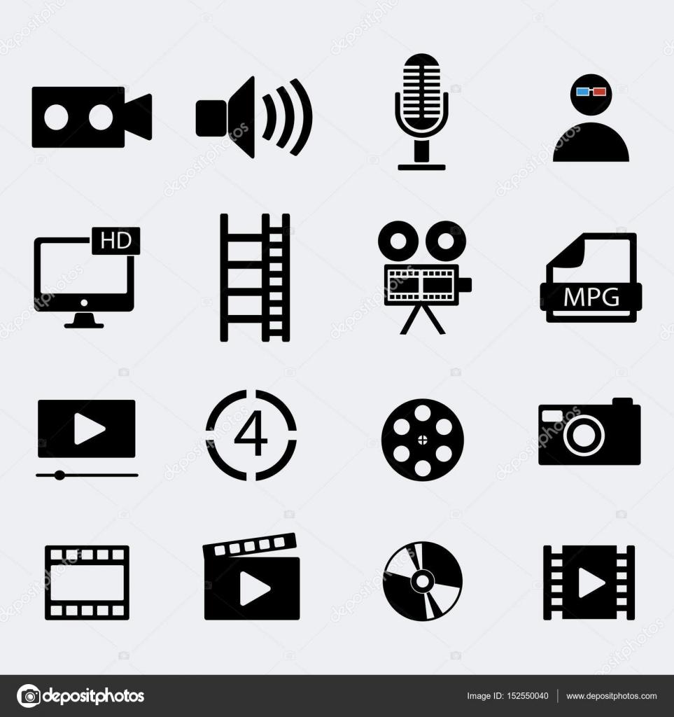 Set Of Sixteen Cinema Video Icons Vector Illustration Stock