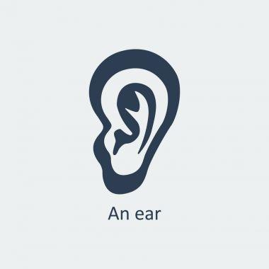 An ear icon. Vector illustration