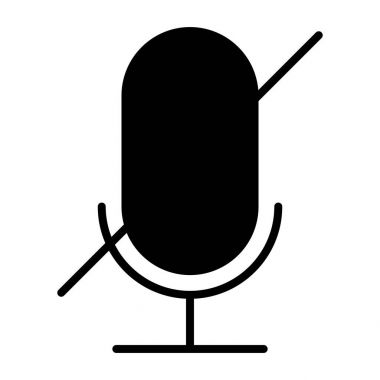 Old microphone disabled silhouette icon. Pictogram