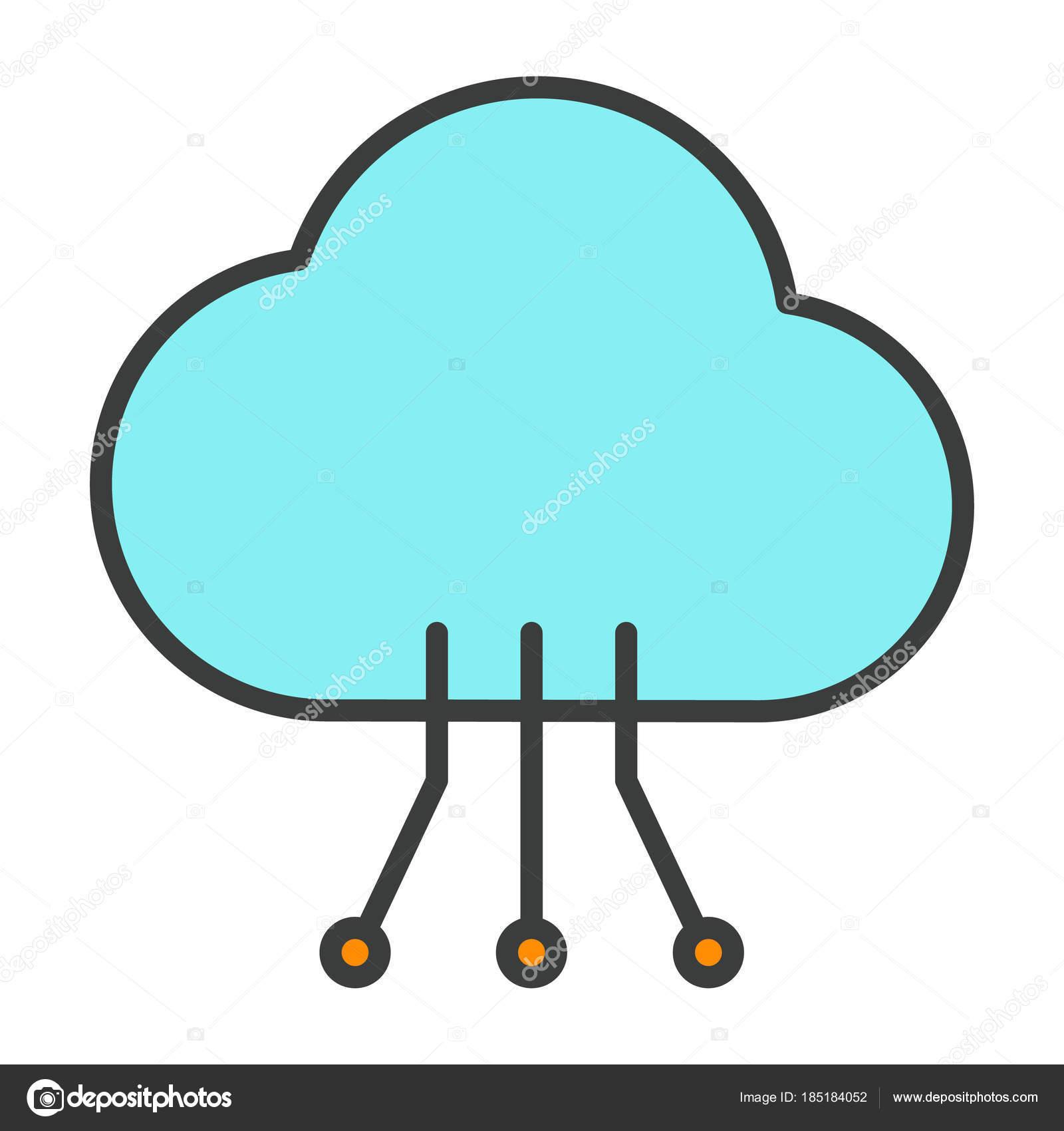 Circuito X : Nube tecnología línea icono con el circuito patrón. pictograma de