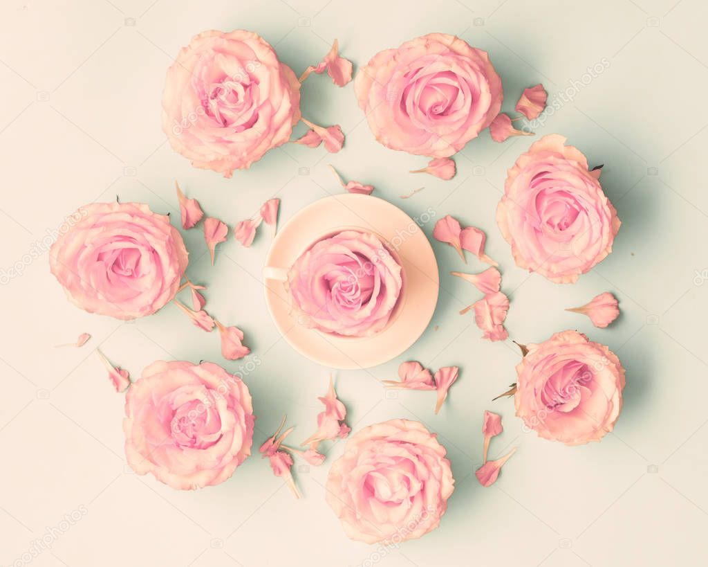 Pink Roses in circle