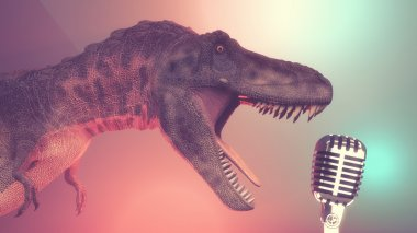 Dinosaur singing  toa old microphone