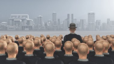 man stands out with a hat on.