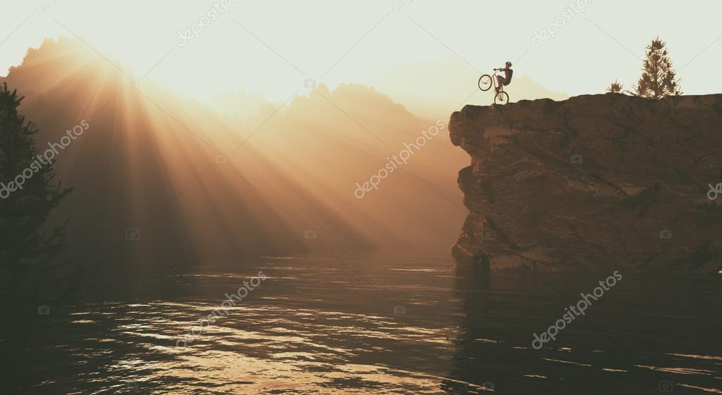 Cyclist doing tricks
