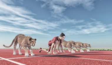 woman competing with cheetahs on track